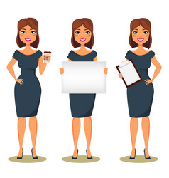 Business woman cartoon character lady standing vector