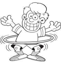 Cartoon boy using a hula hoop vector image