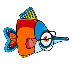 cartoon colored fish with glasses vector image vector image