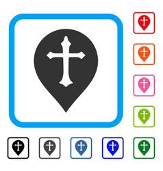 Christian cross marker framed icon vector