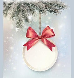 Christmas background with a label and a bow vector