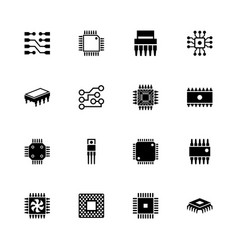 Computer chips - flat icons vector