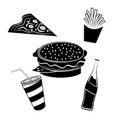 fast food elements set vector image