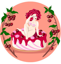 Fat naked lady sitting on a cherry cake vector