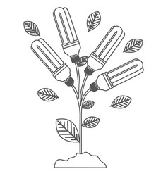 grayscale contour with plant stem with leaves and vector image vector image