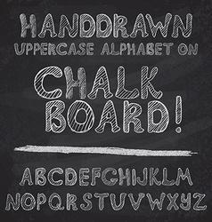 Hand drawn alphabet design on chalk board rough vector