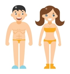 Happy man woman beach dress nude characters vector
