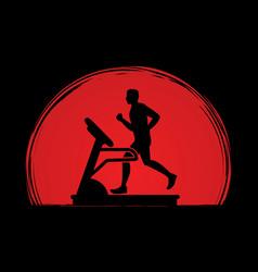 man running on treadmill vector image vector image