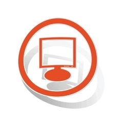 Monitor sign sticker orange vector