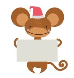 New year christmas cartoon monkey santa hat vector