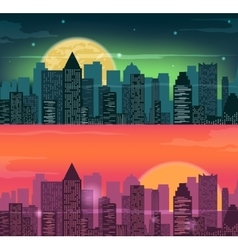 Night and evening city landscape skyline with vector
