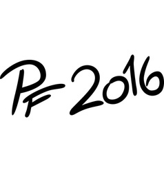 Pf 2016 isolated on white - text vector