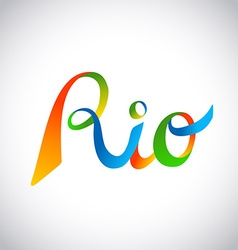 Rio brazil colorful text design for sport games vector