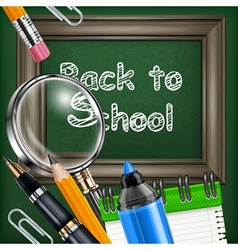 School blackboard and stationery vector image vector image