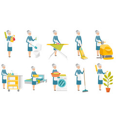 Senior caucasian cleaner set vector