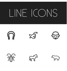 Set of 6 editable animal icons includes symbols vector