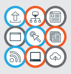 set of 9 web icons includes local connection vector image