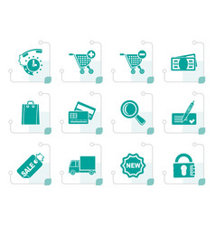 Stylized internet icons for online shop vector