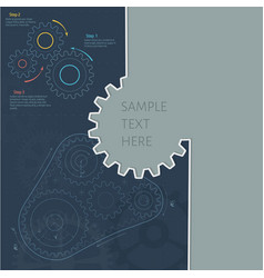 Technology background with gear wheel gears belt vector
