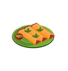 Three tacos on plate vector