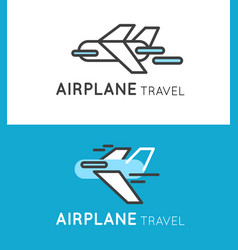 Travel airplane logo in modern style vector