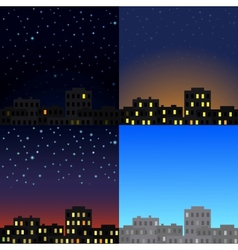 View of the city at different times of day vector image