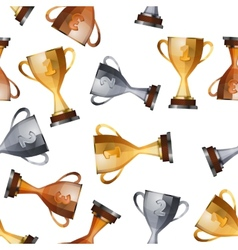 winners cups on white background seamless pattern vector image vector image