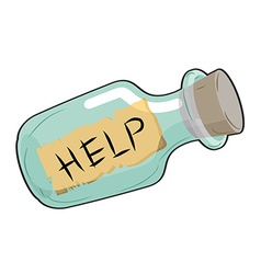 Help in bottle glass vessel with wooden stopper vector
