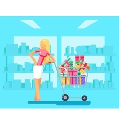 Shopping Girl shop cart purchase gift flat design vector image