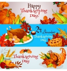 Thanksgiving banners greeting card set vector