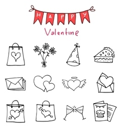 Happy valentine day icons art vector