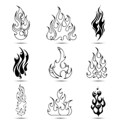 Fire tattoo icon set vector