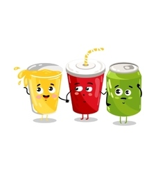 Funny take away glass and soda can character vector