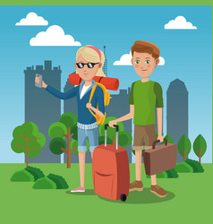Girl and boy tourist with rucksack suitcase green vector