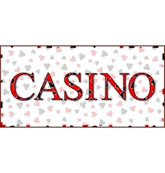 Casino banner with playing cards suits background vector