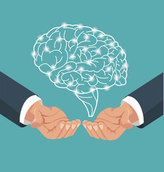 hand with human brain process vector image