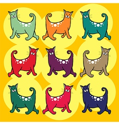 Cats with curly tail pattern vector