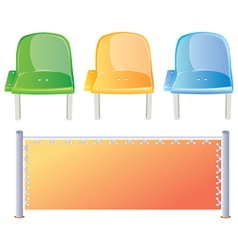 Three colored stadium seats and bord vector image