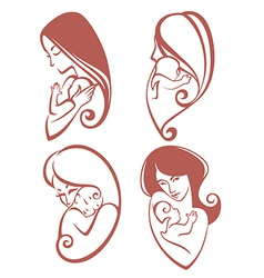 mother and baby collection vector image
