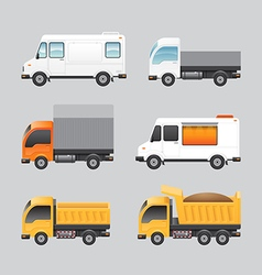 van design truck van transport icons set vector image