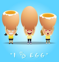 Happy people carrying big boiled eggs vector