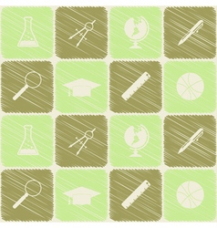 Seamless background with school icons vector