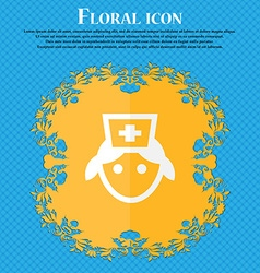 Nurse floral flat design on a blue abstract vector