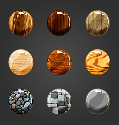 Set of wooden and stone buttons vector