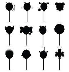 Balloons set in black vector