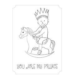Kid cartoon outline prince card for coloring vector image