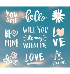 Valentines day typographic designs vector