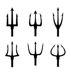 Black trident silhouette set vector