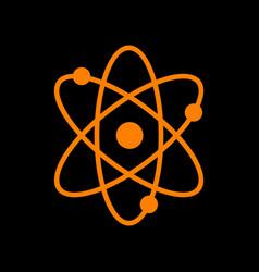 atom sign orange icon on black vector image vector image