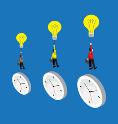 Businessman flying by bulb idea and weight with vector
